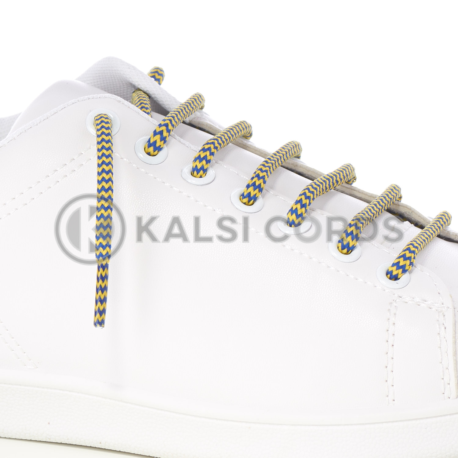 T621 5mm Round Cord Shoe Lace Royal Blue Yellow Herringbone Pattern Kids Trainers Adults Hiking Walking Boots Kalsi Cords