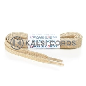 TE330 6mm Flat Waxed Cotton Shoe Laces Cream Kalsi Cords