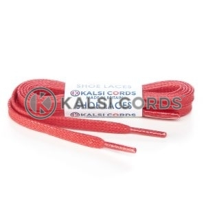TE330 6mm Flat Waxed Cotton Shoe Laces Red Kalsi Cords