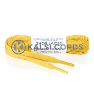 TE330 6mm Flat Waxed Cotton Shoe Laces Yellow Kalsi Cords
