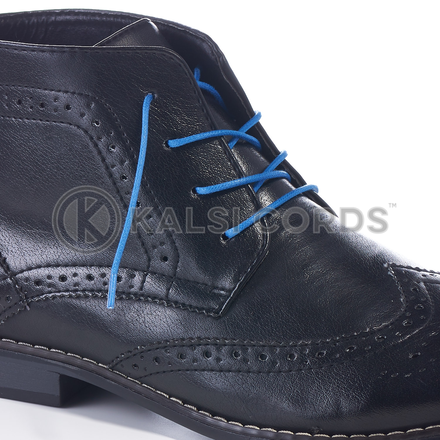 TE428 2mm Thin Fine Round Waxed Shoe Laces Cotton Blue Kalsi Cords