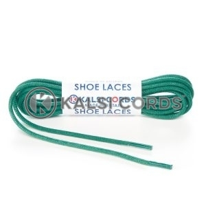 TE428 2mm Thin Fine Round Waxed Shoe Laces Cotton Green Kalsi Cords
