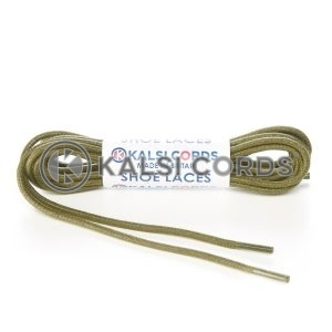TE428 2mm Thin Fine Round Waxed Shoe Laces Cotton Khaki Olive Green Kalsi Cords