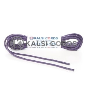 TE428 2mm Thin Fine Round Waxed Shoe Laces Cotton Purple Kalsi Cords