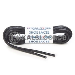 TE458 4mm Thick Chunky Round Waxed Shoe Laces Cotton Black Kalsi Cords