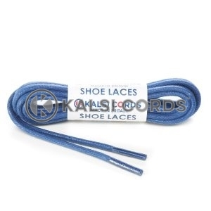 TE458 4mm Thick Chunky Round Waxed Shoe Laces Cotton Navy Kalsi Cords