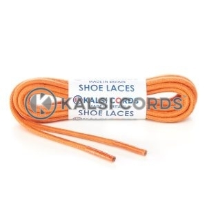 TE458 4mm Thick Chunky Round Waxed Shoe Laces Cotton Orange Kalsi Cords