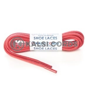 TE458 4mm Thick Chunky Round Waxed Shoe Laces Cotton Red Kalsi Cords