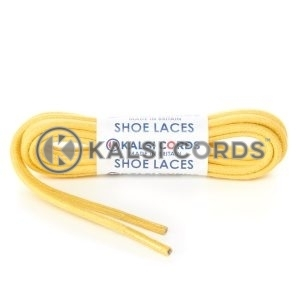 TE458 4mm Thick Chunky Round Waxed Shoe Laces Cotton Yellow Kalsi Cords