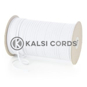 White 4mm 6 Cord Flat Braided Elastic Roll Sewing Face Masks TPE10 Kalsi Cords