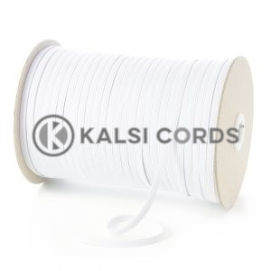 White 6mm 8 Cord Flat Braided Elastic Roll Sewing Tailoring Face Masks TPE11 Kalsi Cords