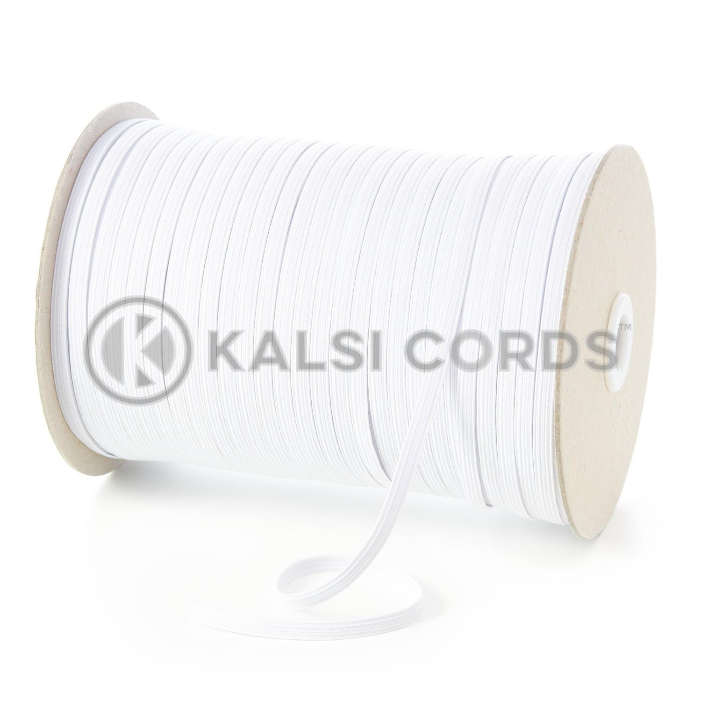 TPE11 6mm 8 Cord Flat Braided Elastic White Ecru Kalsi Cords