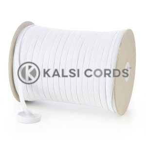 TPE225 8mm 10 Cord Flat Braided Elastic White Ecru Kalsi Cords