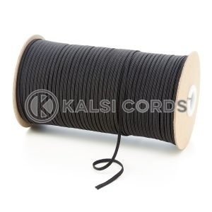 Black 3mm 4 Cord Flat Braided Elastic Roll Sewing Face Masks TPE50 Kalsi Cords