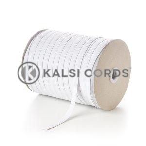 White 10mm 12 Cord Flat Braided Elastic Roll Sewing Tailoring Face Masks TPE244 Kalsi Cords