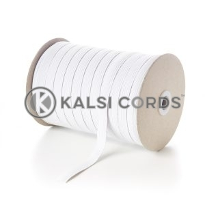 White 12mm 12 Cord Flat Braided Elastic Roll Sewing Tailoring Face Masks FLE1 Kalsi Cords
