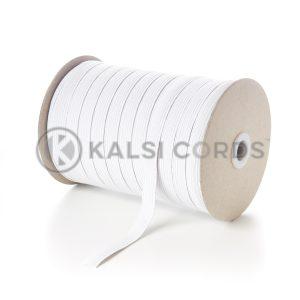 White 12mm 12 Cord Flat Braided Elastic Roll FLE1 Kalsi Cords