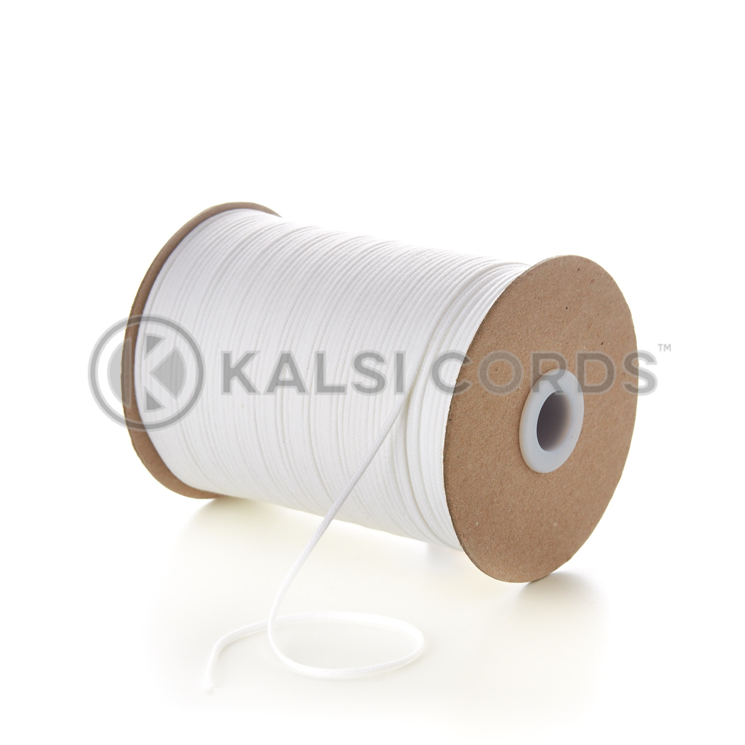 White 2mm Round Cotton Cord Thin Tubular Braided String Swing Tags C156 Kalsi Cords