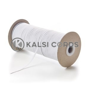 White 3mm 4 Cord Flat Braided Elastic Roll Sewing Face Masks TPE50 Kalsi Cords