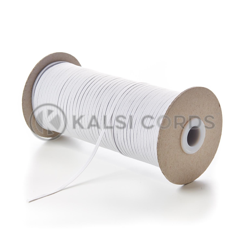 3mm 4 Cord White Flat Braided Elastic Kalsi Cords