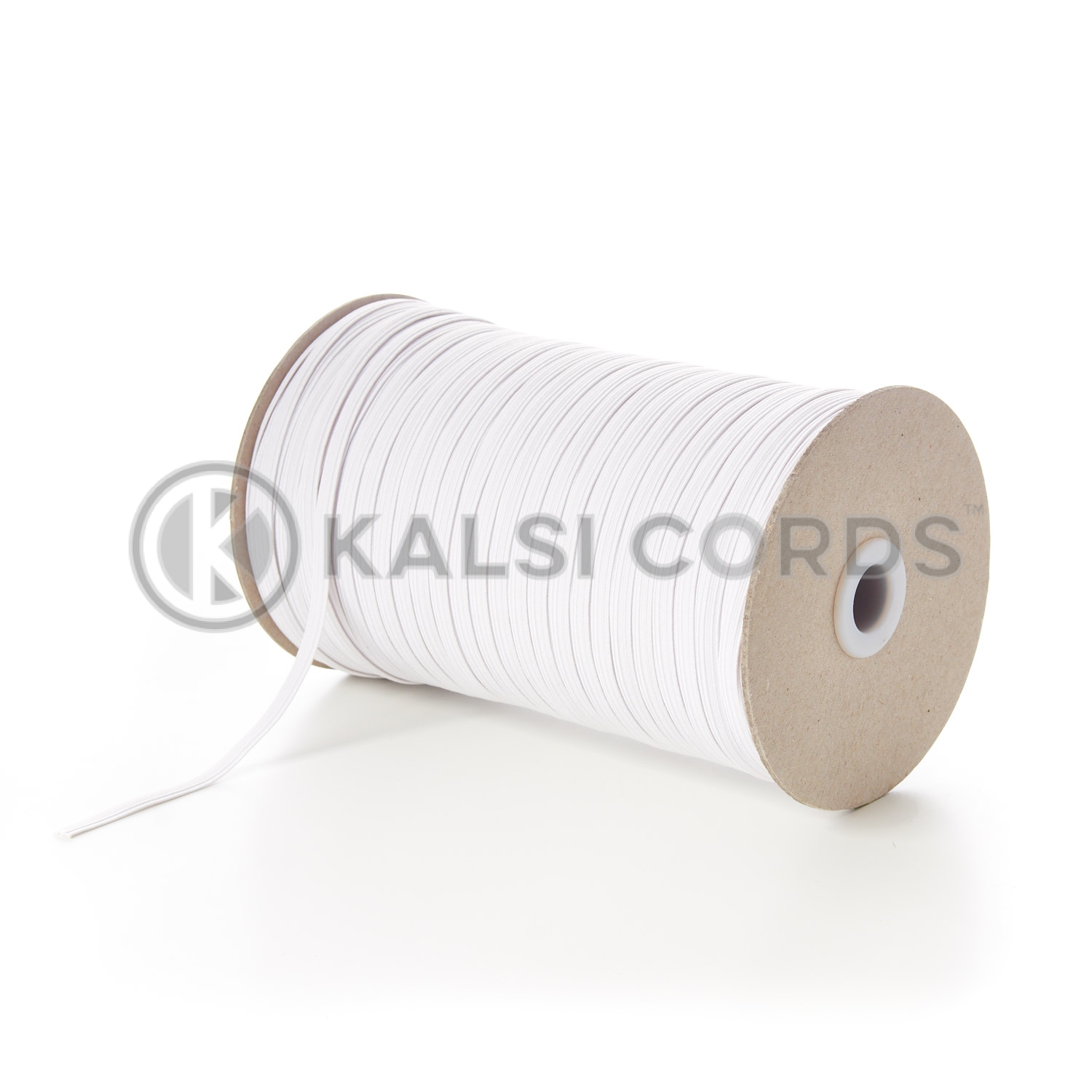 6mm 8 Cord White Flat Braided Elastic Kalsi Cords
