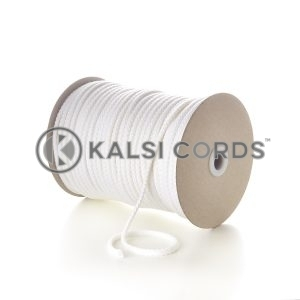 White 6mm Round Cotton Cord Braided String Drawcord Drawstring C212 Kalsi Cords