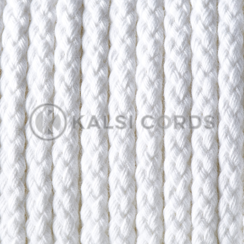 White 6mm Round Cotton Cord Braided String Drawcord Drawstring C212 Kalsi Cords