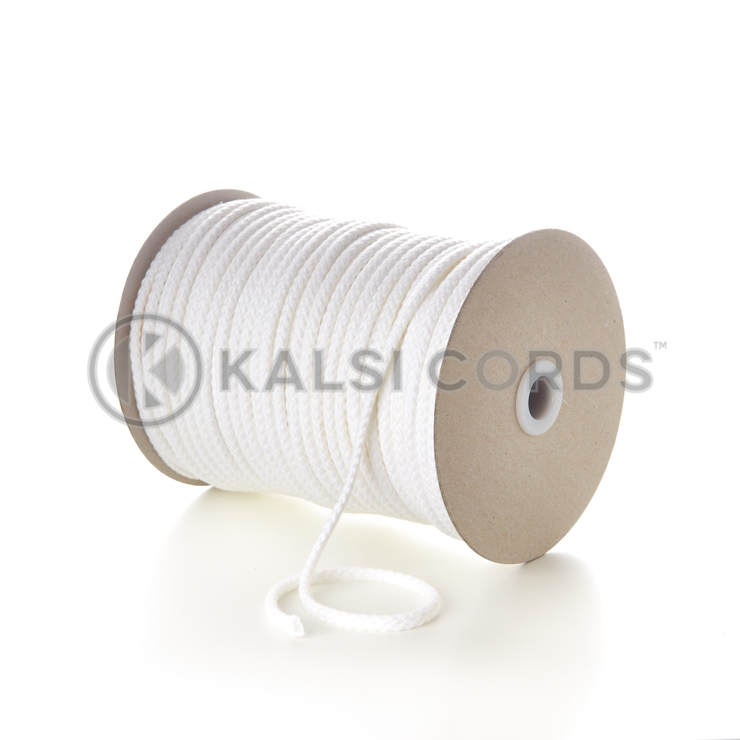 White 7mm Round Cotton Cord Braided String Drawcord Drawstring C213 Kalsi Cords