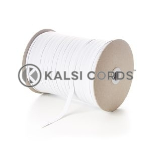White 8mm 10 Cord Flat Braided Elastic Roll Sewing Tailoring Face Masks TPE225 Kalsi Cords