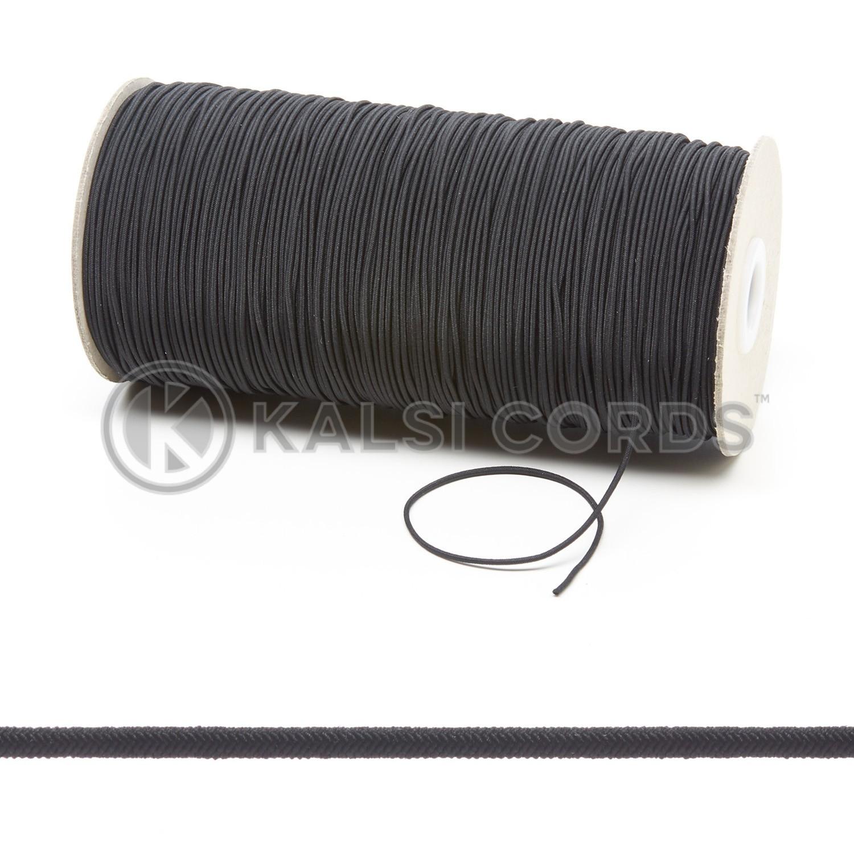 1 5mm Black Thin Fine Round Elastic Cord Kalsi Cords