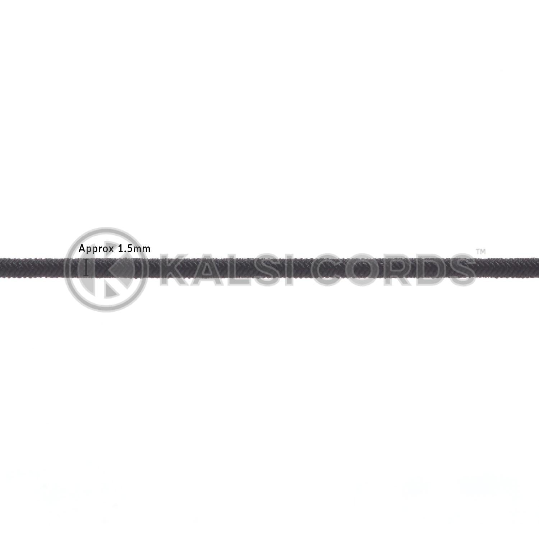 1.5mm Black Thin Fine Round Elastic Cord TPE71 Diameter Kalsi Cords