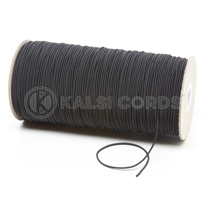 1.5mm Black Thin Fine Round Elastic Cord TPE71 Kalsi Cords
