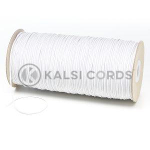 1.5mm White Thin Fine Round Elastic Cord TPE71 Kalsi Cords