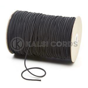 2mm Black Thin Fine Round Elastic Cord TPE84 Kalsi Cords
