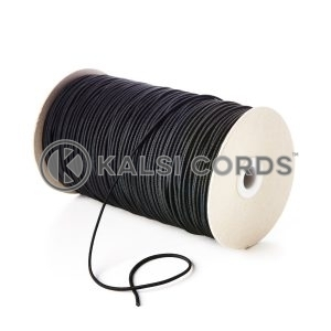2mm Black Thin Fine Round Elastic Cord TPE84 Kalsi Cords Bungee Shock Cord Stretch Gift Tagging Jewelry Making Pendants Necklace Bracelet Making Hair Band Tenting Poles Crafts Projects Beading Labelling Garment Swing Tickets Garments Car Air Freshner Elastic