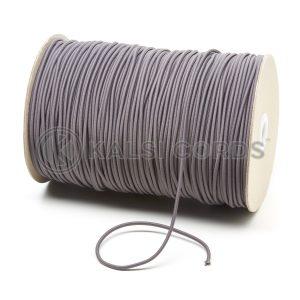 2mm Grey Thin Fine Round Elastic Cord TPE84 Kalsi Cords