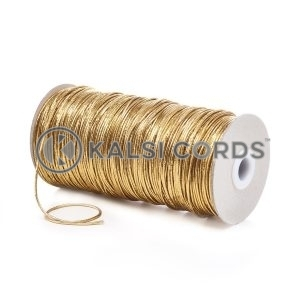 2mm Gold Thin Fine Round Elastic Cord Metalic Lurex Gift Tagging Present Wrapping Glass Decoration Jewelry Making Beading Labelling Garment Swing Tickets Bags Car Air Freshner Pendants Necklace Bracelet Arts Crafts Projects Hair Band Bobble Christmas Birthday Occasion Festival