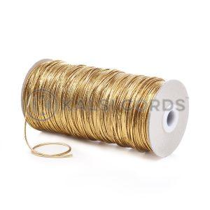 2mm Thin Fine Round Lurex Elastic LXE1 Gold Kalsi Cords