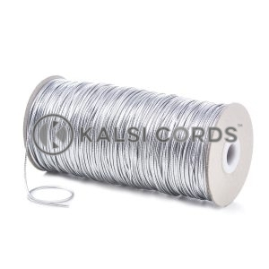 2mm Silver Thin Fine Round Elastic Cord Metalic Lurex Gift Tagging Present Wrapping Glass Decoration Jewelry Making Beading Labelling Garment Swing Tickets Bags Car Air Freshner Pendants Necklace Bracelet Arts Crafts Projects Hair Band Bobble Christmas Birthday Occasion Festival