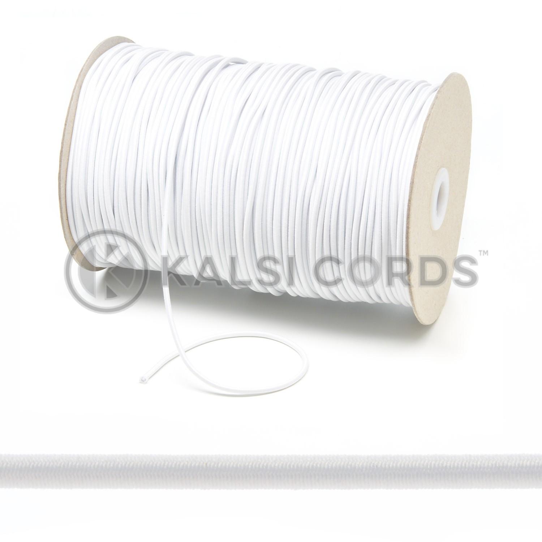 2mm White Thin Fine Round Elastic Cord Kalsi Cords
