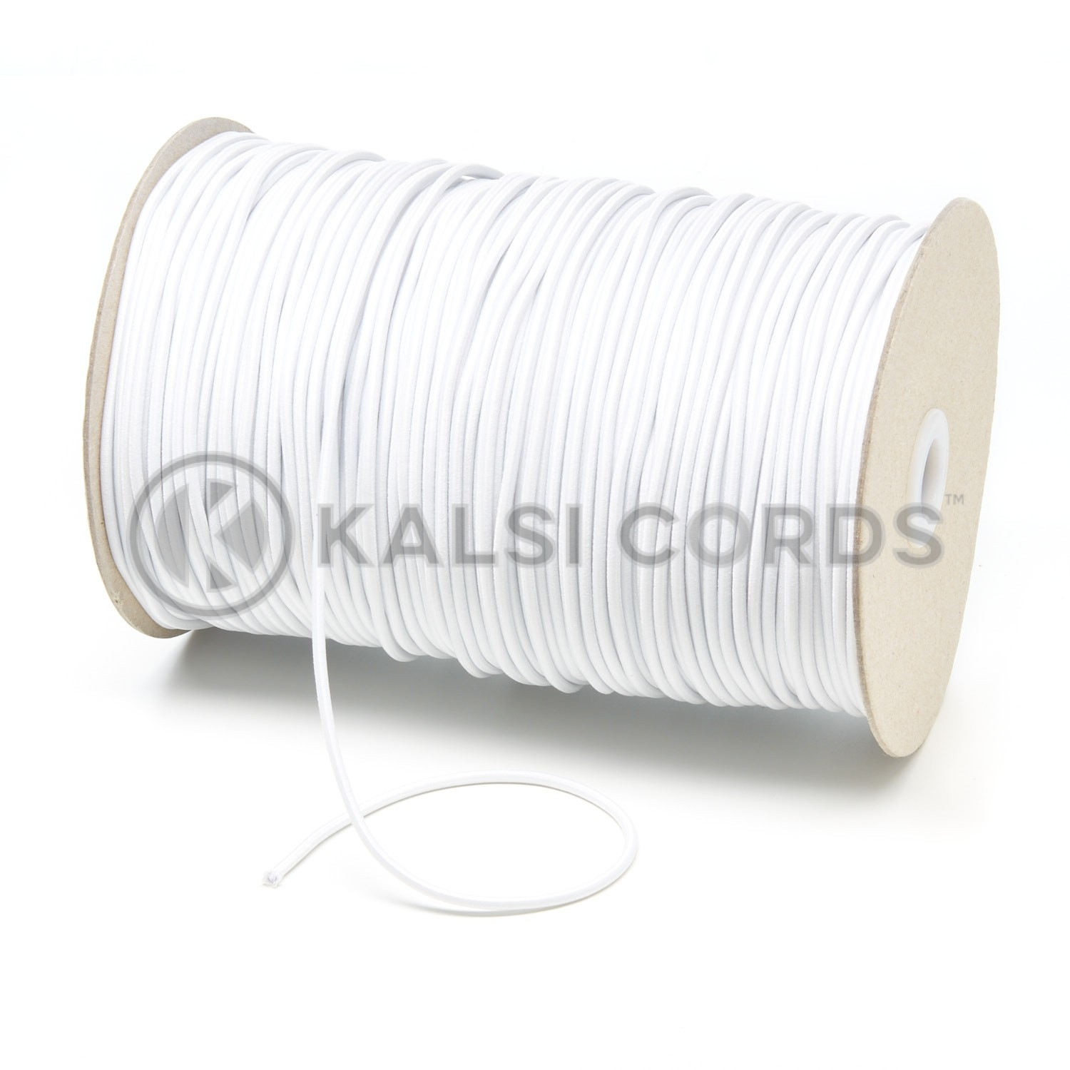 2mm White Thin Fine Round Elastic Cord Kalsi Cords