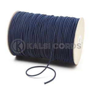3mm Dark Navy Thin Fine Round Elastic Cord TPE43 Kalsi Cords