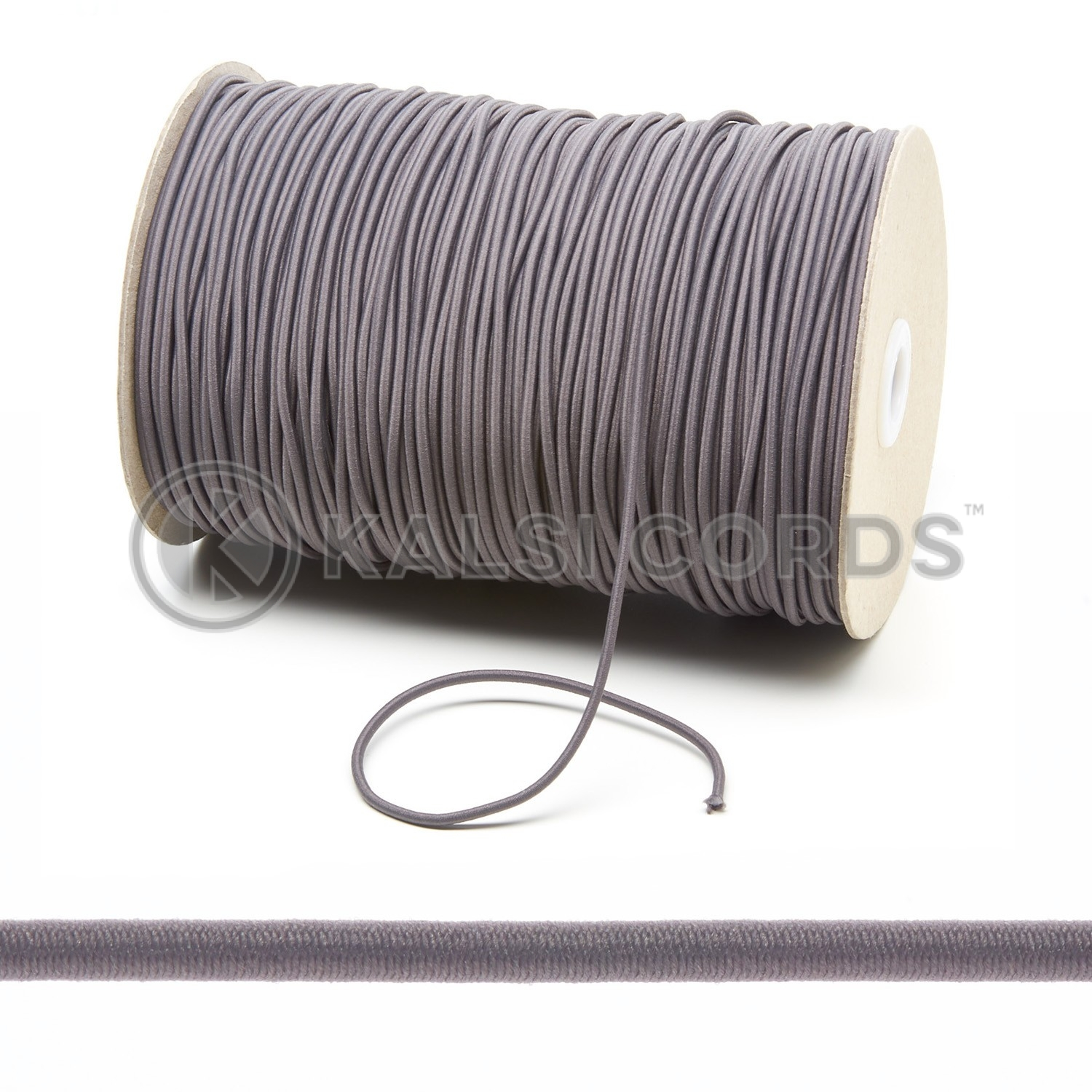 3mm Grey Thin Fine Round Elastic Cord Kalsi Cords