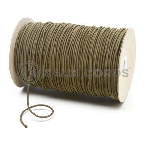 3mm Khaki Olive Thin Fine Round Elastic Cord TPE43 Kalsi Cords