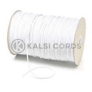 3mm White Thin Fine Round Elastic Cord TPE43 Kalsi Cords