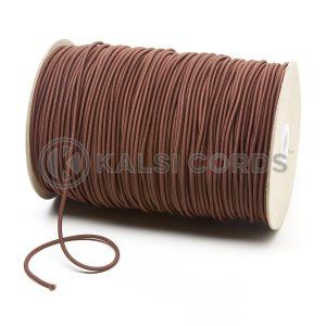 3mm York Brown Thin Fine Round Elastic Cord TPE43 Kalsi Cords