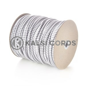 5mm White Black Fleck Round Elastic Bungee Shock Cord Heavy Duty Strong Polypropylene Kalsi Cords Securing Heavy Objects Tie Down Trailers Tenting Tarpaulin Camping Boating Sailing Gardening Luggage Straps Garments Drawcord Textile Products Arts Crafts Projects Indoor Outdoor DIY General Stretchy String