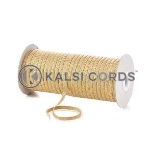 6mm 8 Cord Gold Lurex Flat Braided Elastic LX32 by Kalsi Cords