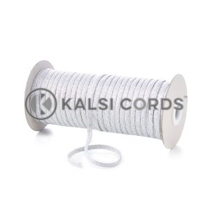 6mm 8 Cord Silver Lurex Flat Braided Elastic LX32 by Kalsi Cords