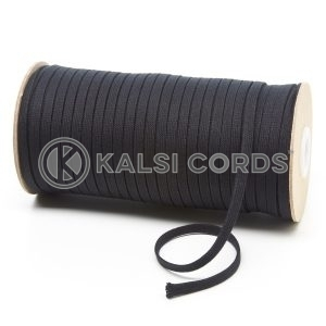 C227 6mm Flat Tubular Cotton Braid Black Kalsi Cords